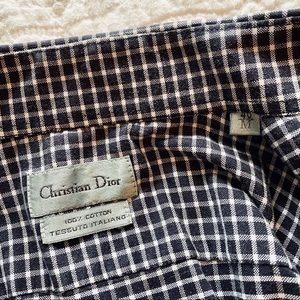 Dior Tops - Christian Dior Vintage Tailored Checkered Shirt S